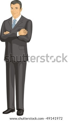 business person in gray suit - stock vector