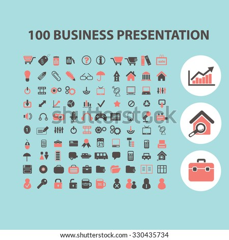 100 business presentation concept icons, symbols on background, vector - stock vector