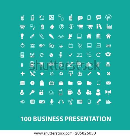 100 business presentation flat icons, signs, symbols set, vector - stock vector