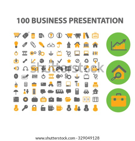 100 business presentation icons - stock vector