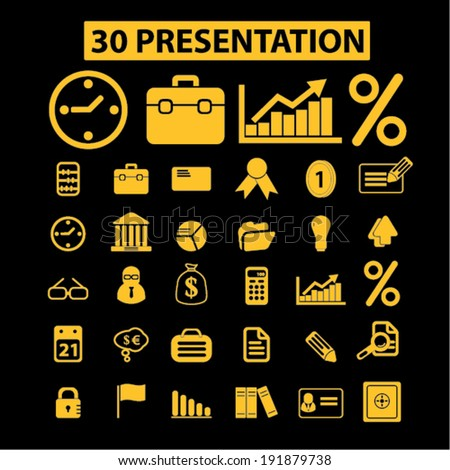 30 business presentation icons, signs set, vector - stock vector