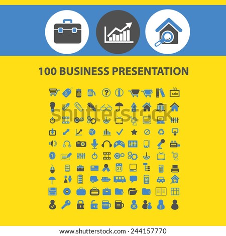 100 business presentation, infographics, internet marketing icons, signs, illustrations on background, vector set
