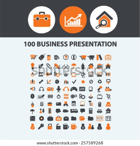 100 business presentation, infographics, marketing, advertising, seo, strategy isolated icons, signs, silhouettes, illustrations,  set, vector