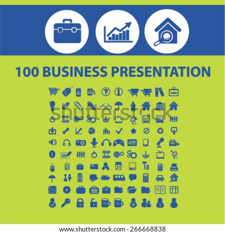 100 business presentation, marketing, management, organization isolated icons, signs, illustrations concept website internet design set, vector