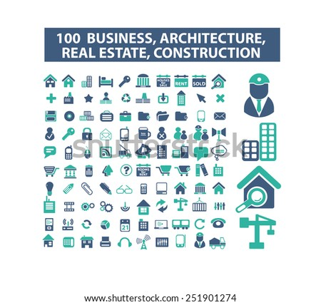 100 business, real estate, architercture, construction, development flat isolated icons, signs, illustrations vector set on background - stock vector