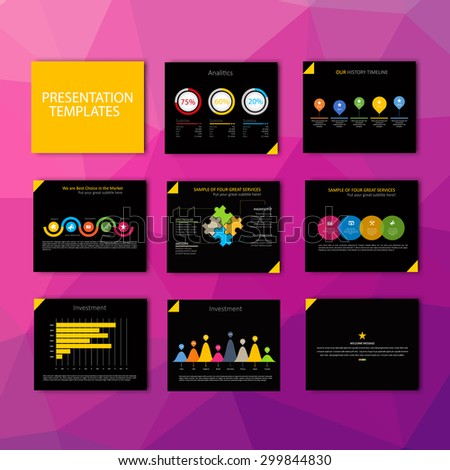 Business Template brochure flyer design set Presentation. Black and yellow color version. Very easy to use for your next project. - stock vector