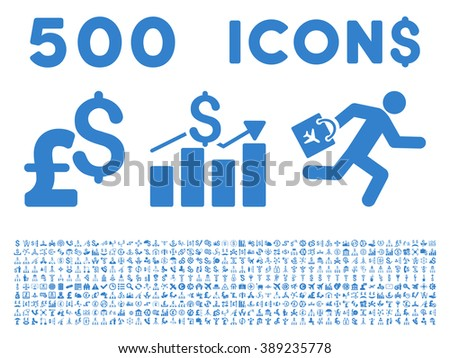 500 Business vector icons. Dollar and pound currency. Style is cobalt flat symbols on a white background. - stock vector