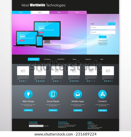 business website template - home page design - clean and simple - vector illustration - stock vector