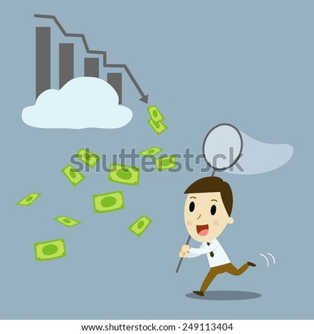Businessman buying profitable stocks. vector  cartoon illustration  - stock vector