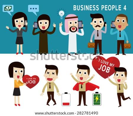 businessman character cartoon design.nationality arab, Caucasian, African,hipster ,vector illustration. - stock vector