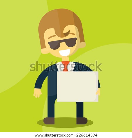 businessman holding blank notes characters poses , eps10 vector format