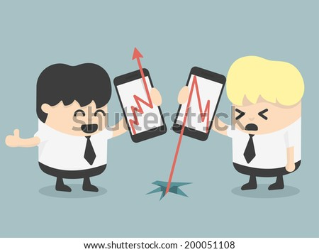 businessman Show growth progress red arrow and arrow fall - stock vector