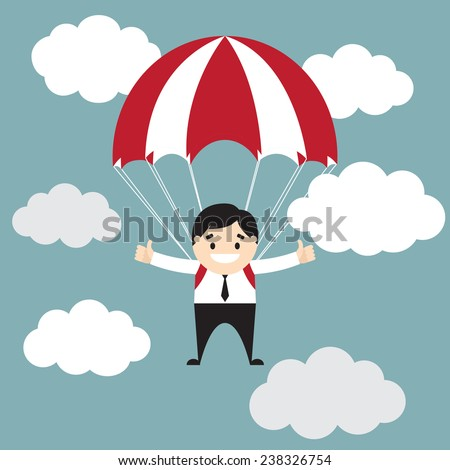 Businessman showing thumb up flyimg with parachute in the sky. Vector illustration. Business concept. Flat design - stock vector