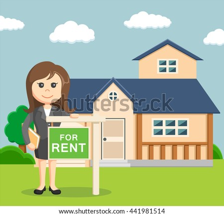 businesswoman give a sign if his house for rent - stock vector