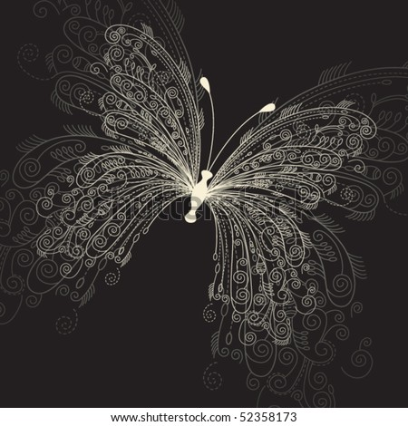 butterfly on black background - stock vector