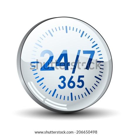 24/7 365 button - stock vector