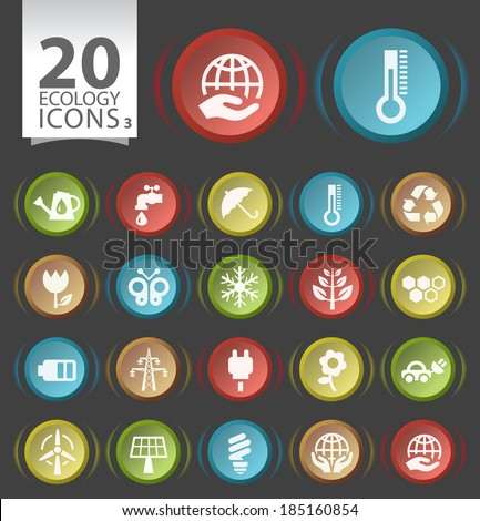 20 Buttons with Flat Ecology Icons on Black Background 3. - stock vector