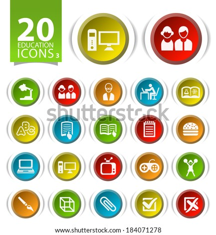 20 Buttons with Flat Education Icons on White Background 3. - stock vector