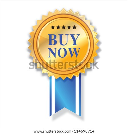 Buy now icon  and blue ribbon. - stock vector