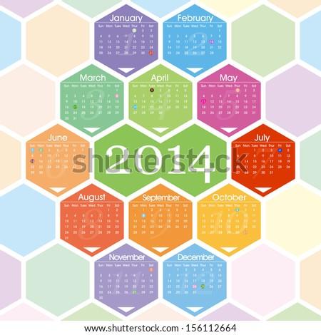 2014 calendar - stock vector