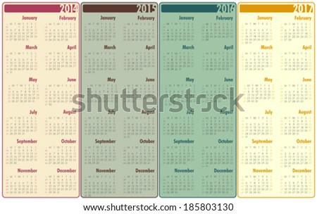 2014-2017 Calendar - stock vector