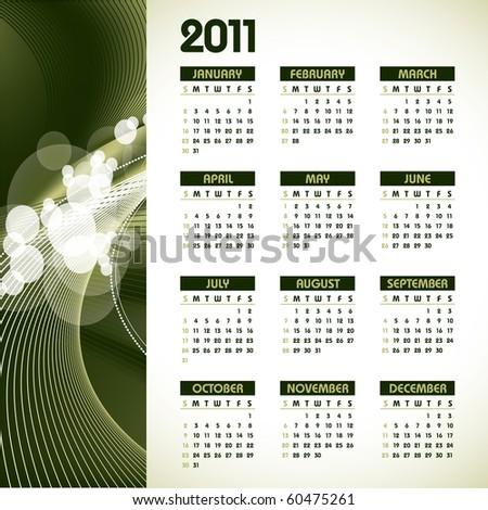 2011 Calendar. - stock vector