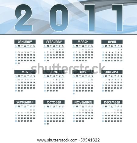 2011 Calendar. Abstract Background. - stock vector