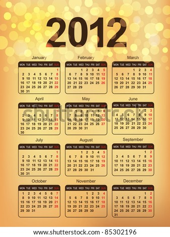 2012 Calendar. Abstract Gold Background in eps10. - stock vector