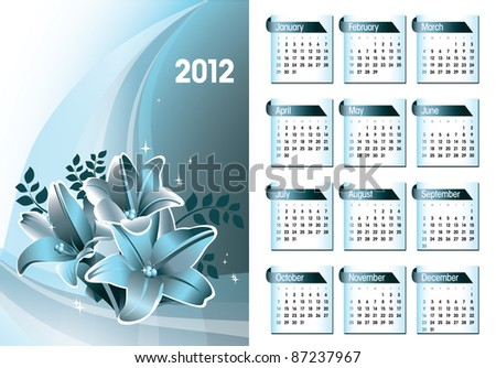 2012 Calendar. Abstract Illustration in Eps10 Format. - stock vector