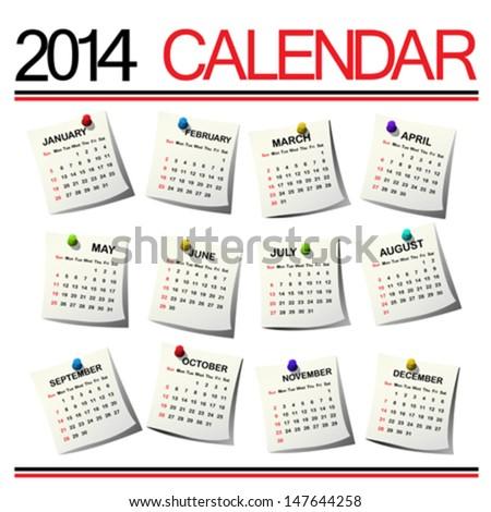 2014 Calendar against white background - stock vector