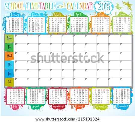 School Timetables 2015 2015 Calendar And School