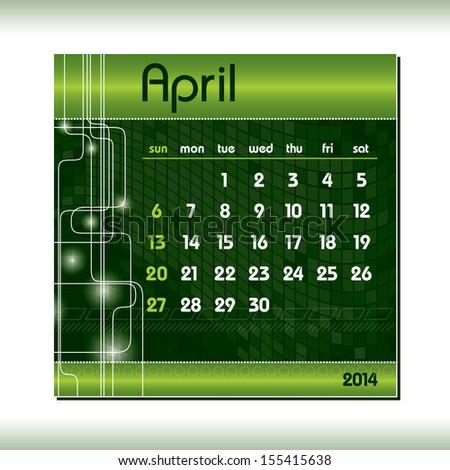 2014 Calendar. April. - stock vector