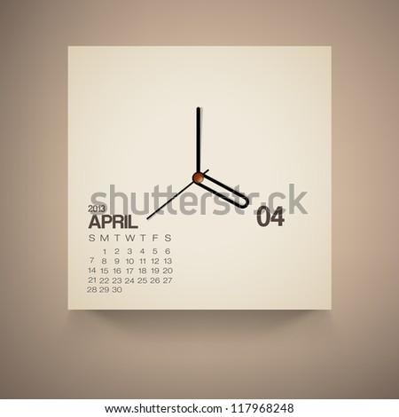 2013 Calendar April Clock Design Vector - stock vector