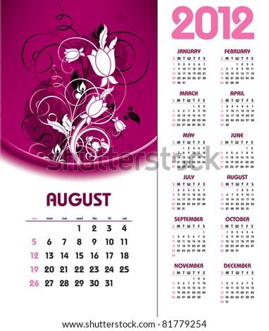 2012 Calendar. August. - stock vector