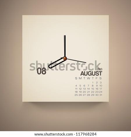 2013 Calendar August Clock Design Vector - stock vector