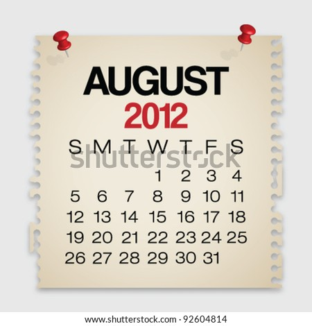 2012 Calendar August Old Torn Paper Vector - stock vector