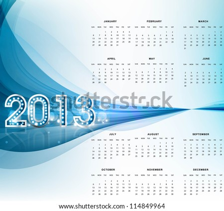 2013 calendar bright blue wave new year colorful vector background - stock vector