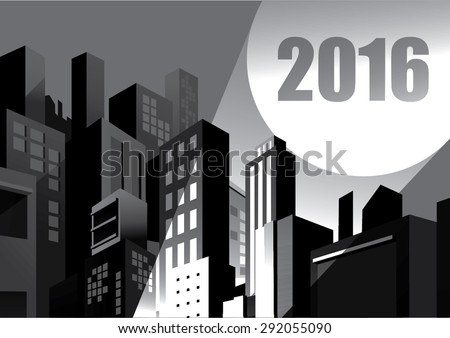 2016 calendar - buildings and blackout city, spotlight signal, comic graphic style. - stock vector