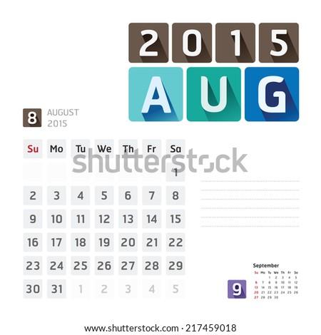 2015 Calendar Calendar Vector  Design. August - stock vector