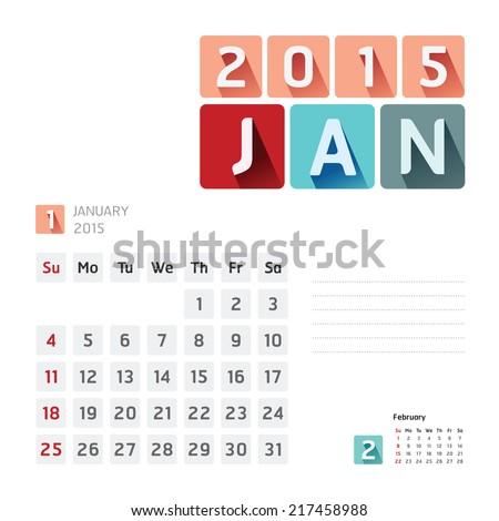 2015 Calendar Calendar Vector  Design. January  - stock vector