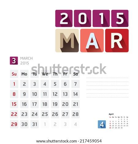 2015 Calendar Calendar Vector  Design. March - stock vector