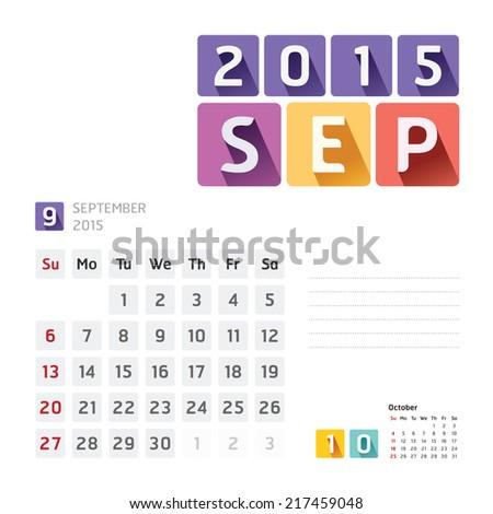 2015 Calendar Calendar Vector  Design. September - stock vector