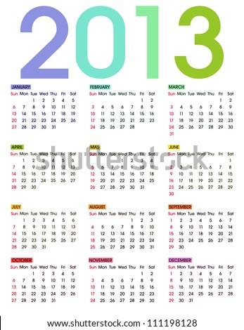 2013 Calendar. Colorful vector illustration on white background. - stock vector