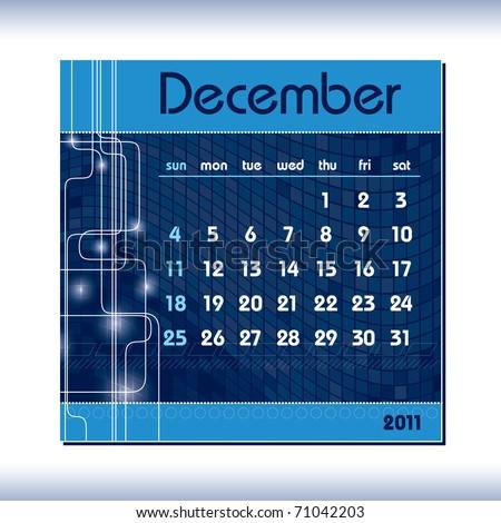 2011 Calendar. December. - stock vector