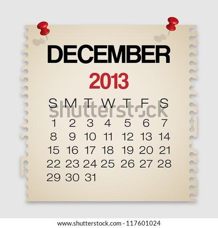 2013 Calendar December Old Torn Paper Vector - stock vector