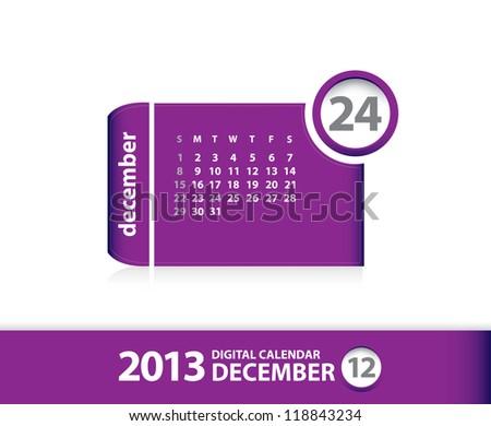 2013 calendar December (vector) The mounth December from my calendar set - stock vector
