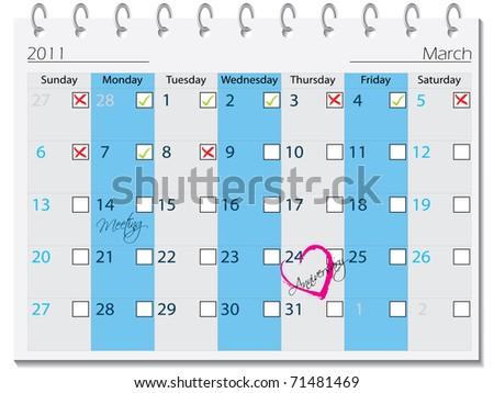 2011 calendar design for march - stock vector