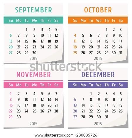 6 months calendar 2015