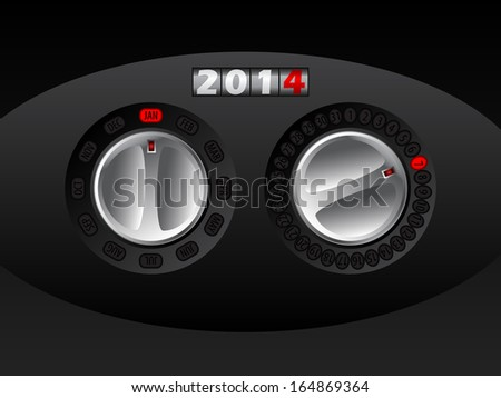 2014 calendar design with rotateable car buttons for adjusting month and day