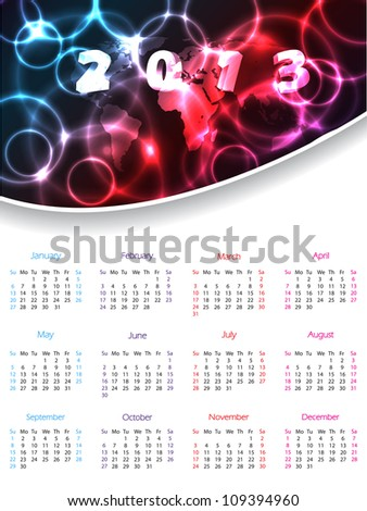 2013 calendar design with white background and plasma header - stock vector